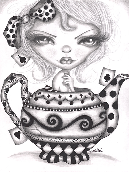 Alice Lost In A Tea Pot - Canvas Giclee